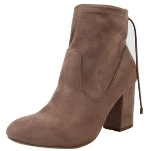 Shoes - Cement faux suede elastic back tie block heel boot